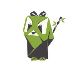 panda MASTER origami VECTOR ICON LOGO DESIGN